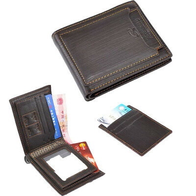Business Men Wallet PU Leather Purse Hand Bag Zipper Separated Compartment W8V4