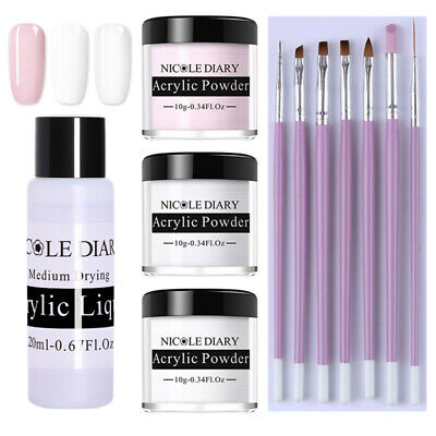 11Pcs/Set NICOLE DIARY White Pink Clear Polymer Acrylic Powder Nail Brushes Kit