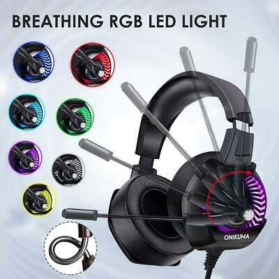 ONIKUMA K6 RGB LED 3.5mm PC Gaming Headset headphone Stereo Surround with Mic