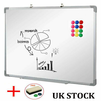 Large Magnetic White Board 1200x900 Dry Wipe Aluminum Frame School Office Notice