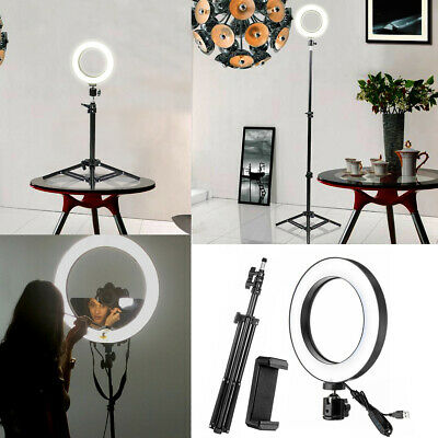 Dimmable LED Ring Light Studio Photo Video Lamp+Selfie Camera Phone Holder+Stand
