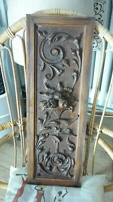 French Antique Carved Architectural Panel Door Solid Walnut Wood