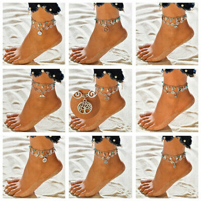 Boho Womens Ankle Bracelet Silver Plated Sterling Anklet Foot Chain Beach Beads