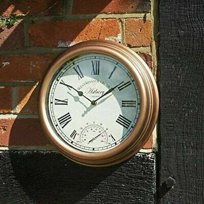 "Outdoor Wall Clock 30cm / 12"" Westminster Astbury Bronze Temperature Gauge"