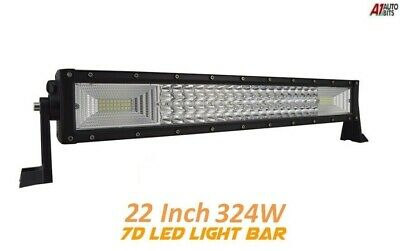 "7D Three Row 21"" inch 324W LED Light Lamp Bar Spot Flood Combo Jeep SUV 4X4"
