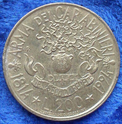 "ITALY - 200 lire 1994 R ""180th Anniversary Carabineri"" KM# 164 - Edelweiss Coins"