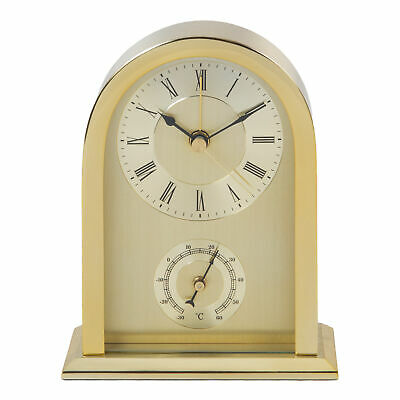 Arched Mantel Table Clock Brushed Gold Aluminium Beep Alarm 14cm