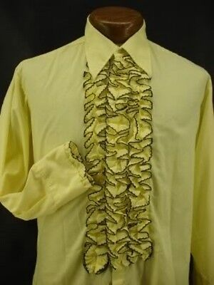 VINTAGE RUFFLED TUXEDO TUX SHIRT RETRO YELLOW with BLACK MADE IN USA NEW NOS