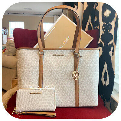 86a2a2d859 Nwt Michael Kors Pvc Sady Large Multifunction Tote Bag + Mf Wallet In  Vanilla