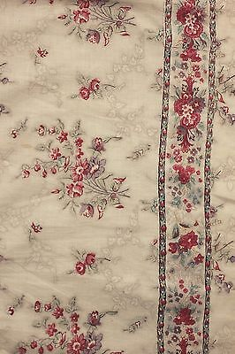 Chintz Fabric Antique French block printed glazed cotton textile c1820 2.5 yards