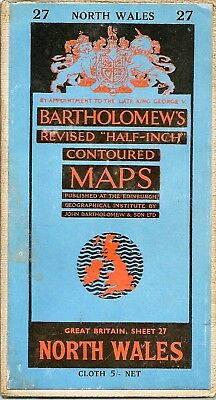 Bartholomews half-inch Map 27 NORTH WALES- cloth -1960