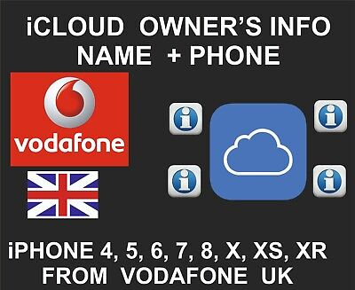 iCloud Owner info, Name and Number, iPhone and iPad, by IMEI, Vodafone UK