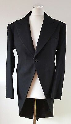 "Vintage Edwardian 1920's Black Morning Tails Tailcoat Jacket Coat 38"" Prop"