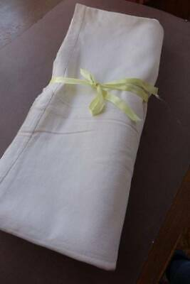 """Vintage white French linen metis sheet with plain hems.  88"""" x 116"""""""