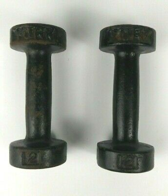 Pair of Vintage York Barbell Dumbbells 2 pound Pre US Stamp Some Rust