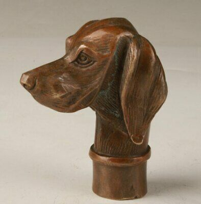 Chinese Bronze Hand Casting Cute Dog Walking Stick Head Collection Handle