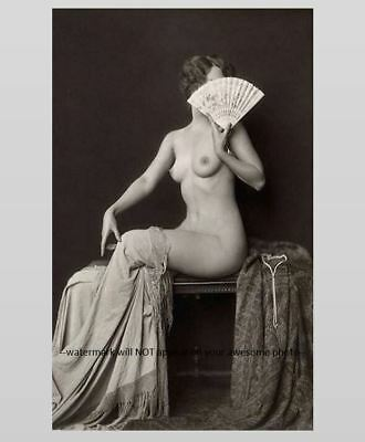 Sexy Nude Topless Girl PHOTO, Perky Flapper Holds Fan, Alfred Cheney Johnston