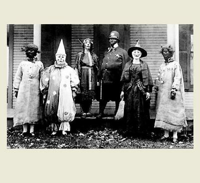 Scary Vintage Creepy Halloween PHOTO Freak Scary Strange Witch Clown House Porch