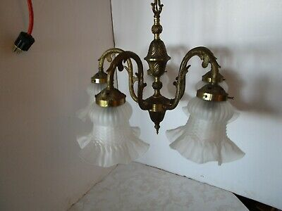 """Vintage Spanish Ornate 5 Arm Brass Chandelier  5 frosted shades 15 ½"""" H x 20"""" W"""