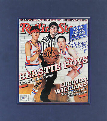 Beastie Boys (3) Mike D, MCA & Ad-Rock Signed Matted Rolling Stone Magazine BAS