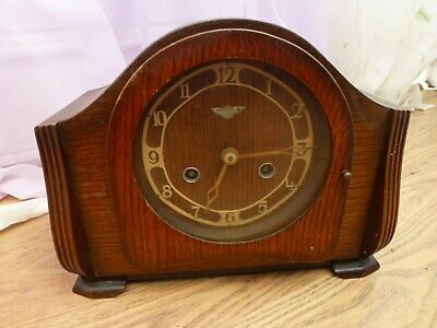ANTIQUE BERTISMO ? MANTEL CLOCK VINTAGE 1940's ? CHIMES HOUSE CLEARANCE ITEM