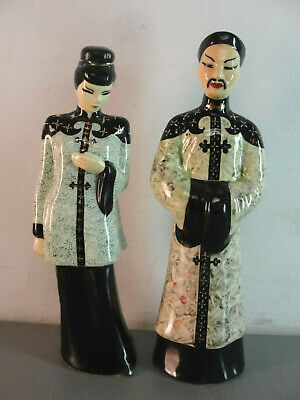Man Woman Vintage Chinese Asian Couple Figure Ceramic Figurines Painted Dragon