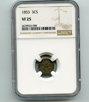 1853 Three Cent Silver (VF 25) NGC.
