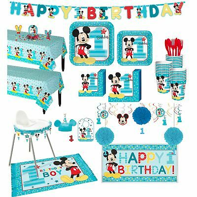 Disney Mickey Mouse 1st Birthday Party Supplies 32 Guest Tableware Decorations