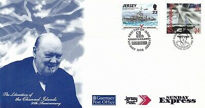 Jersey/Guernsey 50th anniversary of Liberation FDC Unadressed with encl VGC