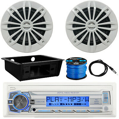 "Dual Marine Receiver, 2 x 6.5"" Speakers, Dash Kit, Antenna, Speaker Wire"