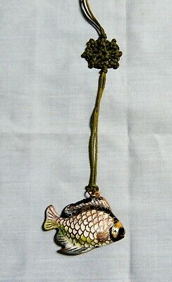 Antique Chinese cloisonne fish pendant hand crafted hand painted retired c 1950s