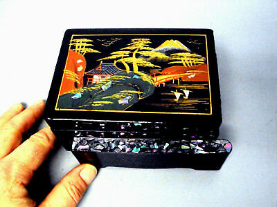Black Enamel Jewelry Box Lacquer Ware Asian Japan Japanese Mop Abalone Antique