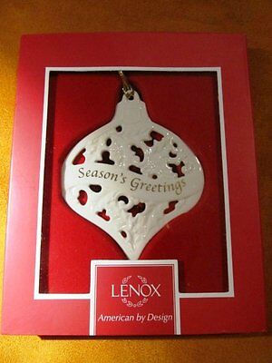 LENOX Christmas Ornament Cheers Greeting of the Season Porcelain Off White
