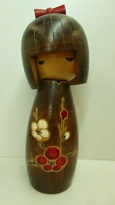 Vintage Wooden Japanese Kokeshi Doll Statue