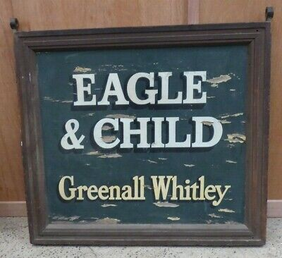 Antique Old English Pub Hotel Sign Painted Timber Eagle & Child Greenall Whitley