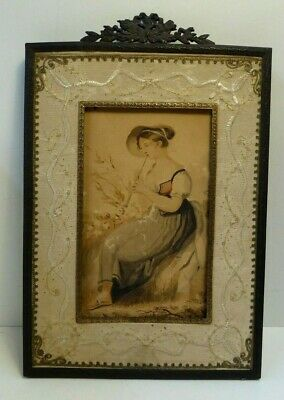 Antique Georgian Watercolour Painting Girl Playing Flute Needlework Emrbroidery