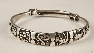Unique Chinese Tibetan Silver Hand Carving Zodiac Bracelet Good Luck Collection