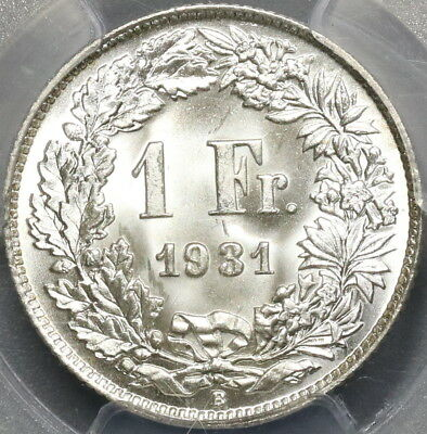 1931 PCGS MS 68 SWITZERLAND Silver 1 Franc Gem BU Swiss Coin (17041304D)