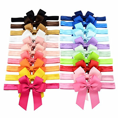 20Pcs Baby Girls Hair Bows and Headbands 4 Inch Grosgrain Ribborn Bows HairBands