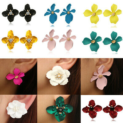 Women Fashion Boho Painting Big Flowers Ear Stud Earrings Charm Jewelry Gifts