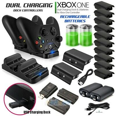 2xRechargeable Battery Pack+USB Charging Dock/Dual Charging Dock For Xbox One US