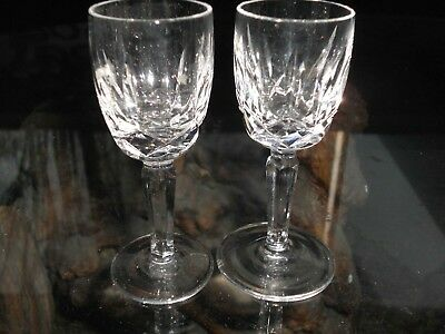 Rare Waterford Crystal 2 Lismore Liquor Footed Shot Glasses