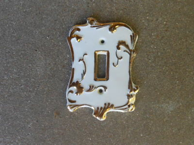 LEFTON Ceramic LIGHT SWITCH COVER   White w 22 K Gold Design.   JAPAN