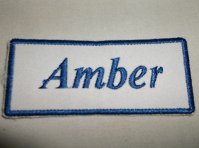 FRITZ  NEW EMBROIDERED SEW IRON ON NAME PATCH BLUE ON WHITE  1.5  X 3.5
