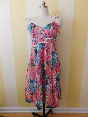 J Crew Spaghetti-strap dress in Ratti® painted pineapple Size 4-8