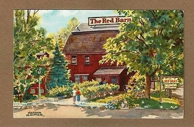 THE RED BARN Restaurant postcard, Laconia - Gilford NH Curb