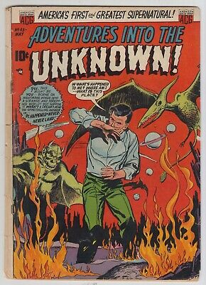 Adventures Into The Unknown # 43  -Vg  Demon Cover  Pre-Code Horror  Acg 1953