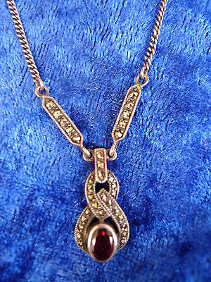 Beautiful, Old Chain ___Necklace__ 925 Silver__Collier__ with Red Stone _