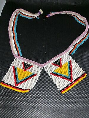 #A16 Antique African Necklace Beaded Zulu Chevron Triangle Necklet Love Letters
