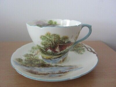 Rare Shelley Bone China Old Mill Tea Cup and Saucer